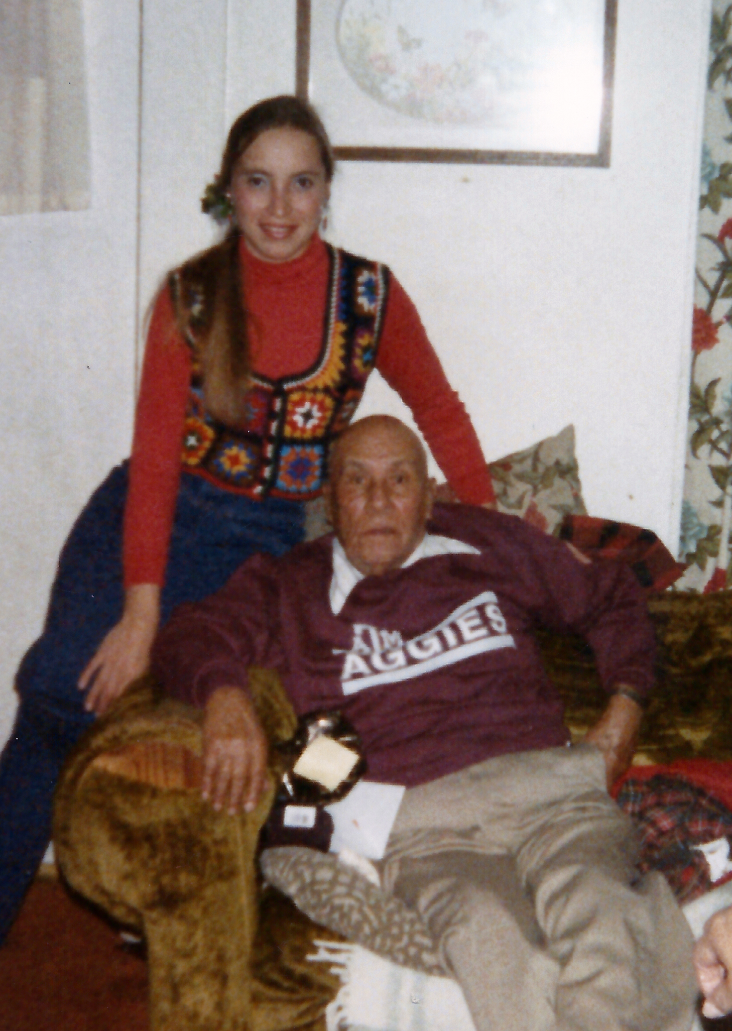 Belen Escobedo with her grandfather, Panfilo Padilla