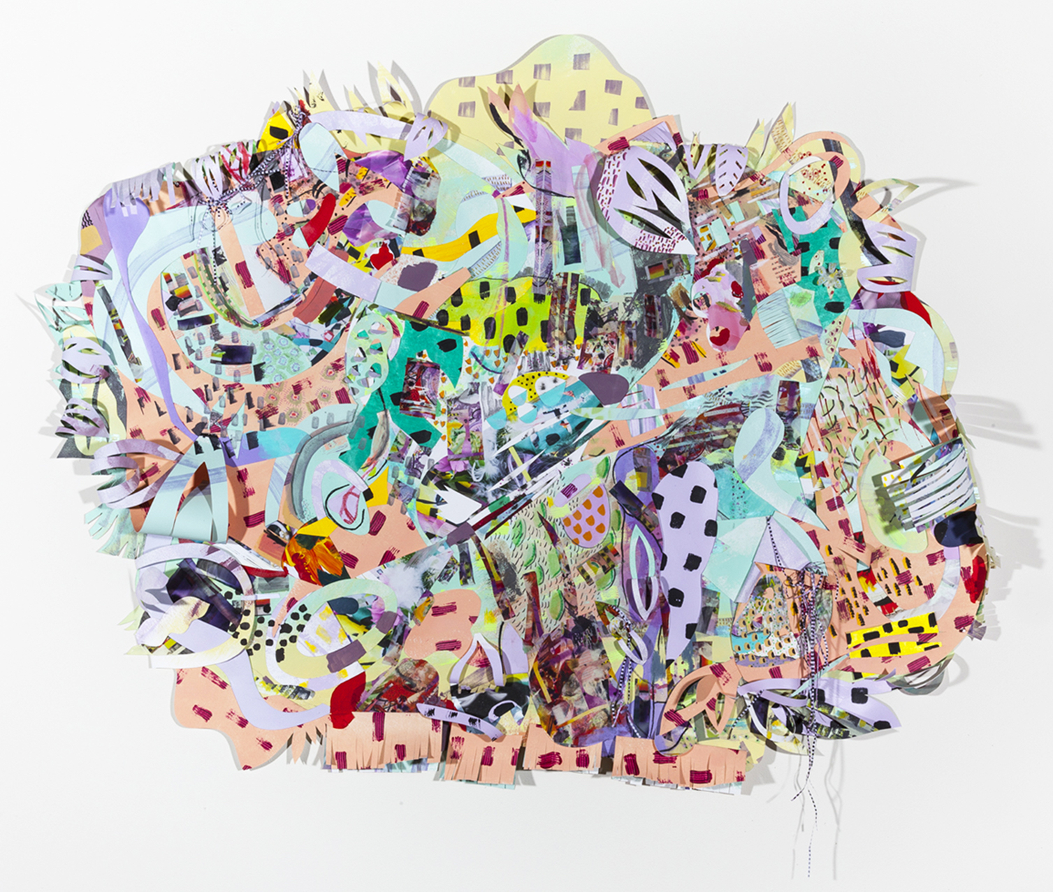 """Above: Amy Boone-McCreesh.  Jack Rabbit, Moments of Rest . 2016. mixed media, collage on cut paper. 38"""" x 47"""" x 3"""". Below: Amy Boone-McCreesh. Status Symbols. 2018. collage on paper."""