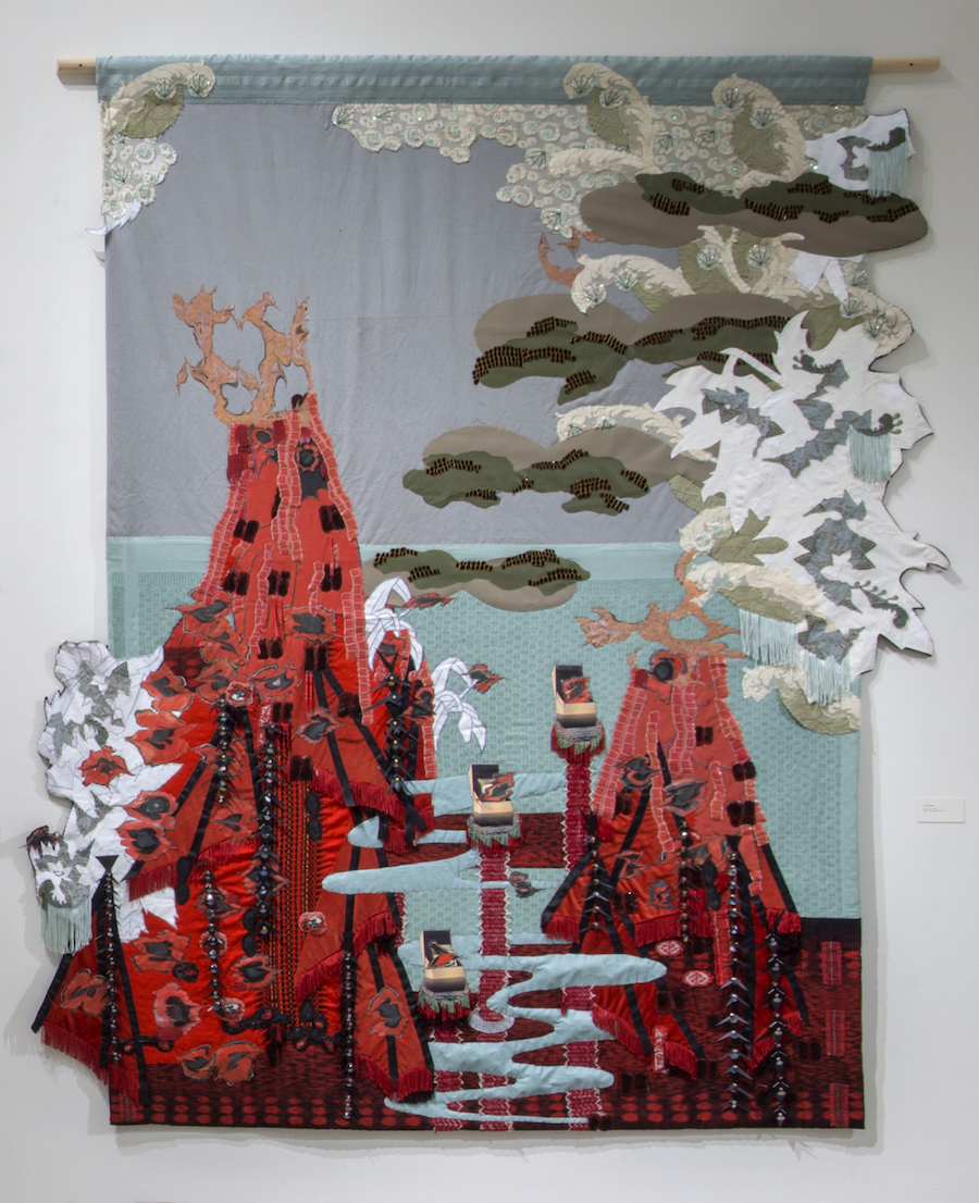 Lindsay Rhyner,  Cinder Cone , fabric, beads, acrylic, 2017. Photo courtesy of the artist
