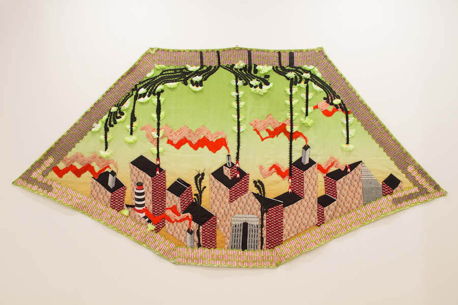 "Above: Lindsay Rhyner, City Blocks, fabric, dye, 2018. Below: Lindsay Rhyner,  Cotton Field , fabric, acrylic, 10' x 12"", 2015. Photos courtesy of the artist"