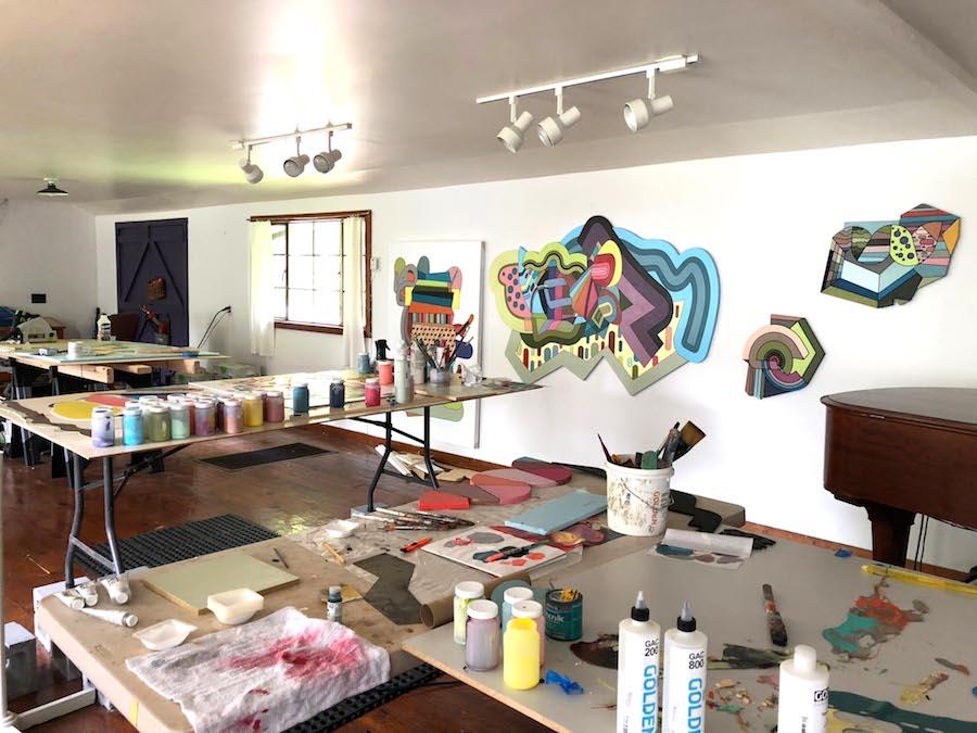 Joey Slaughter's studio at the Hambidge Creative Residency Program, Rabun Gap, Georgia, summer 2018