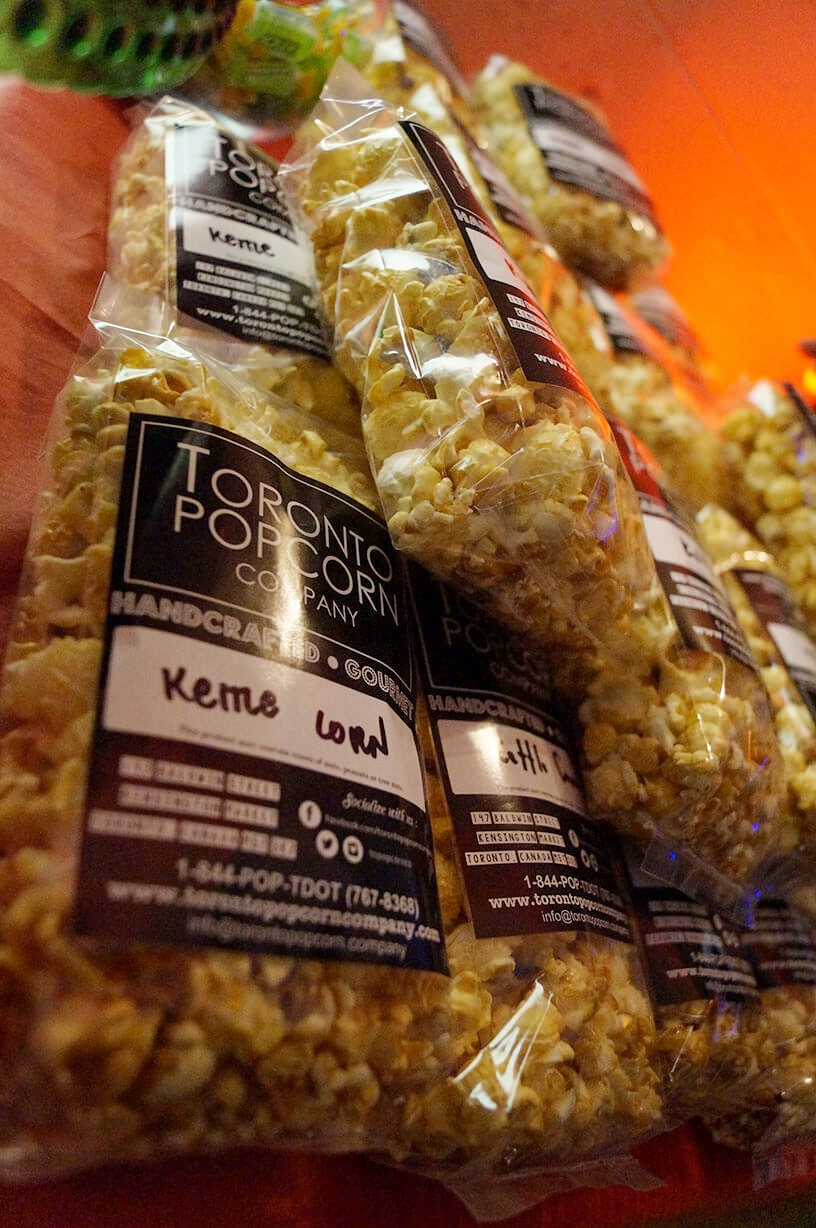 Packaged kettle corn event food takeaway from Toronto Popcorn Company - Historia Wedding and Event Planning