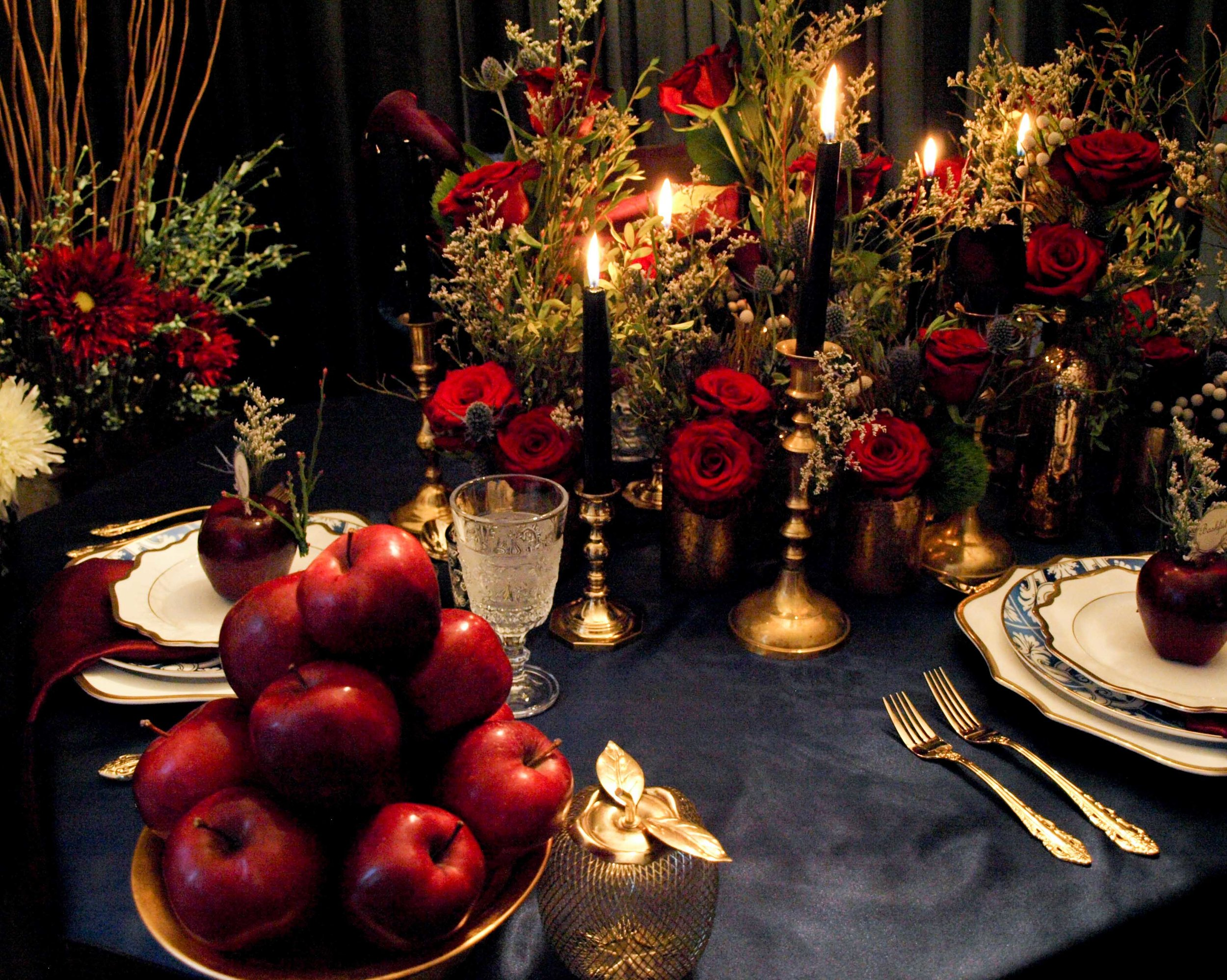 Snow White and the Seven Dwarves Decor and Floral Inspiration - Enchanted Dark Forest Tablescape - Historia Wedding and Event Planning
