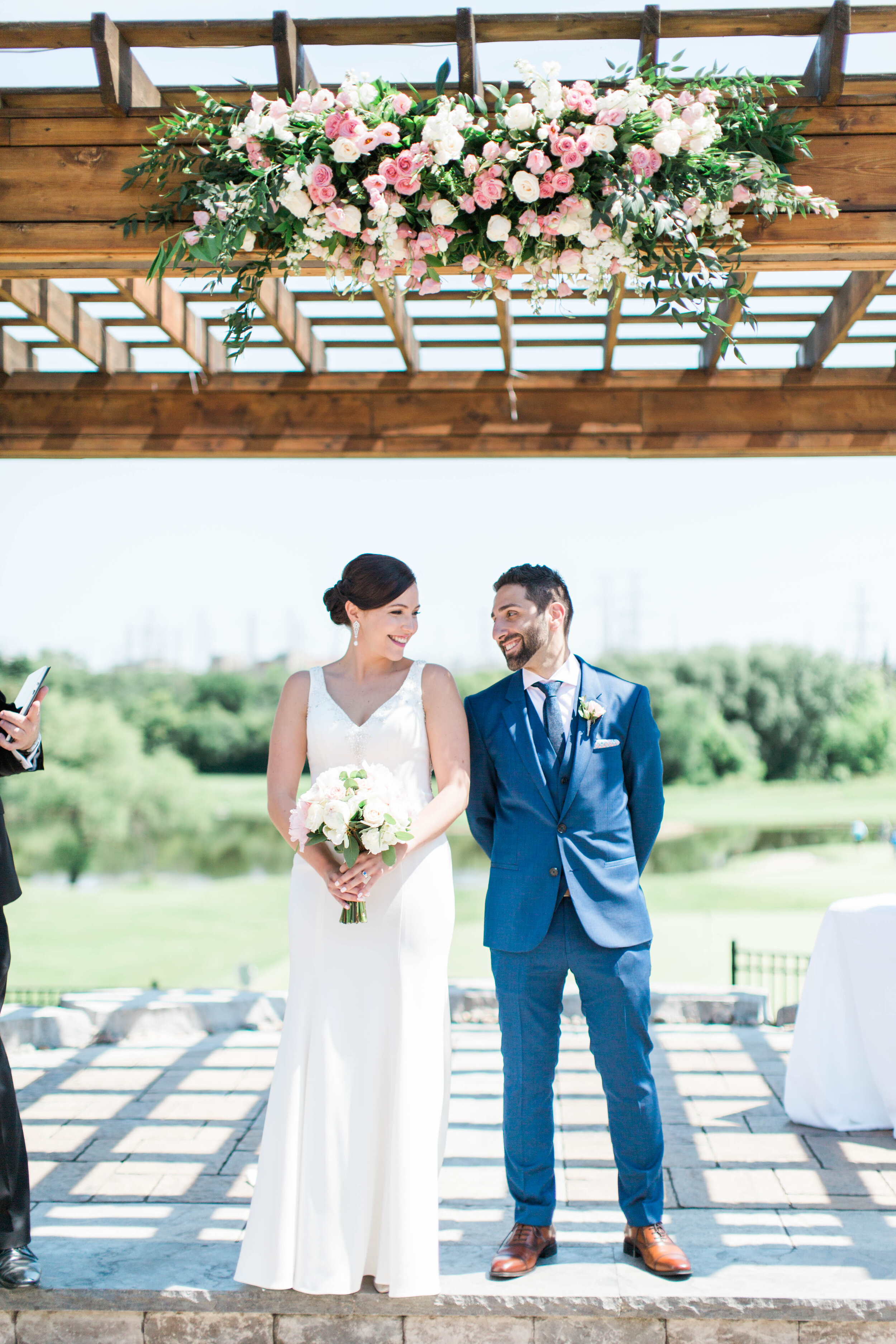 Bride and Groom in Ceremony - Trendy Modern Brunch Wedding - Historia Wedding and Event Planning