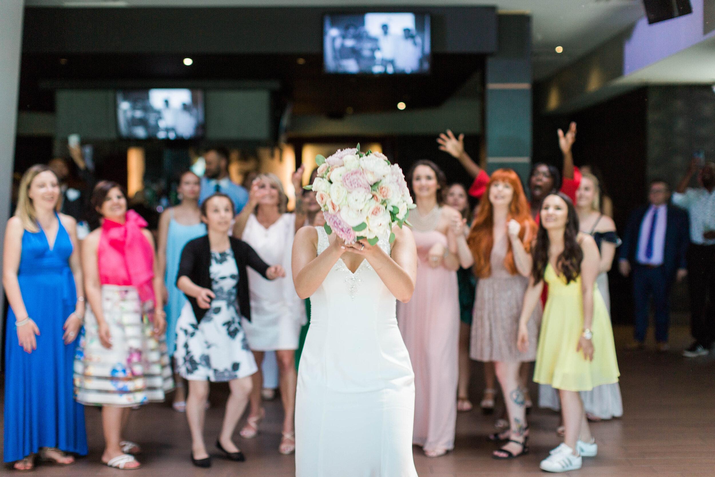 Bridal Bouquet Toss - Trendy Modern Brunch Wedding - Historia Wedding and Event Planning