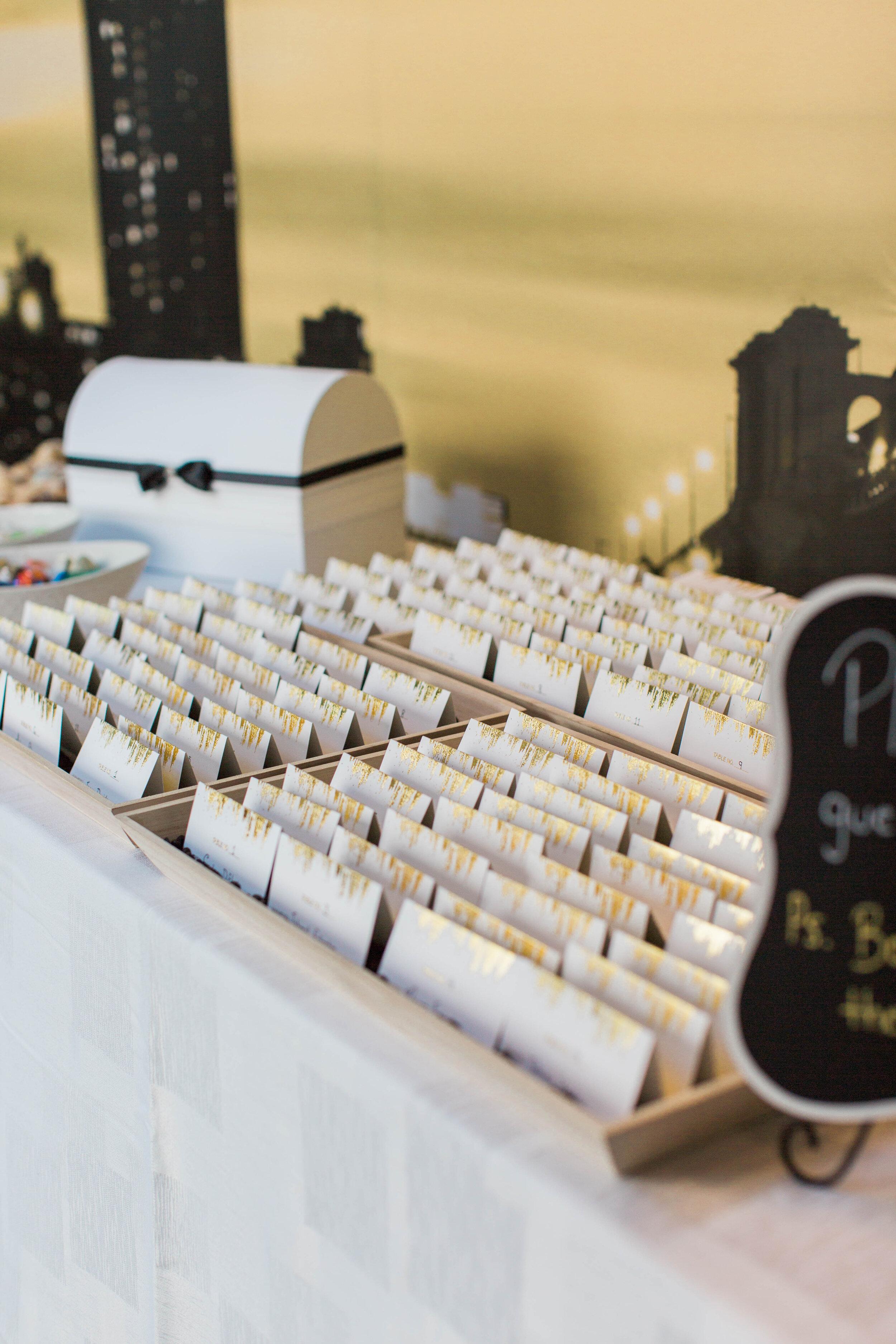 Contemporary Escort Card Setup - Trendy Modern Brunch Wedding - Historia Wedding and Event Planning