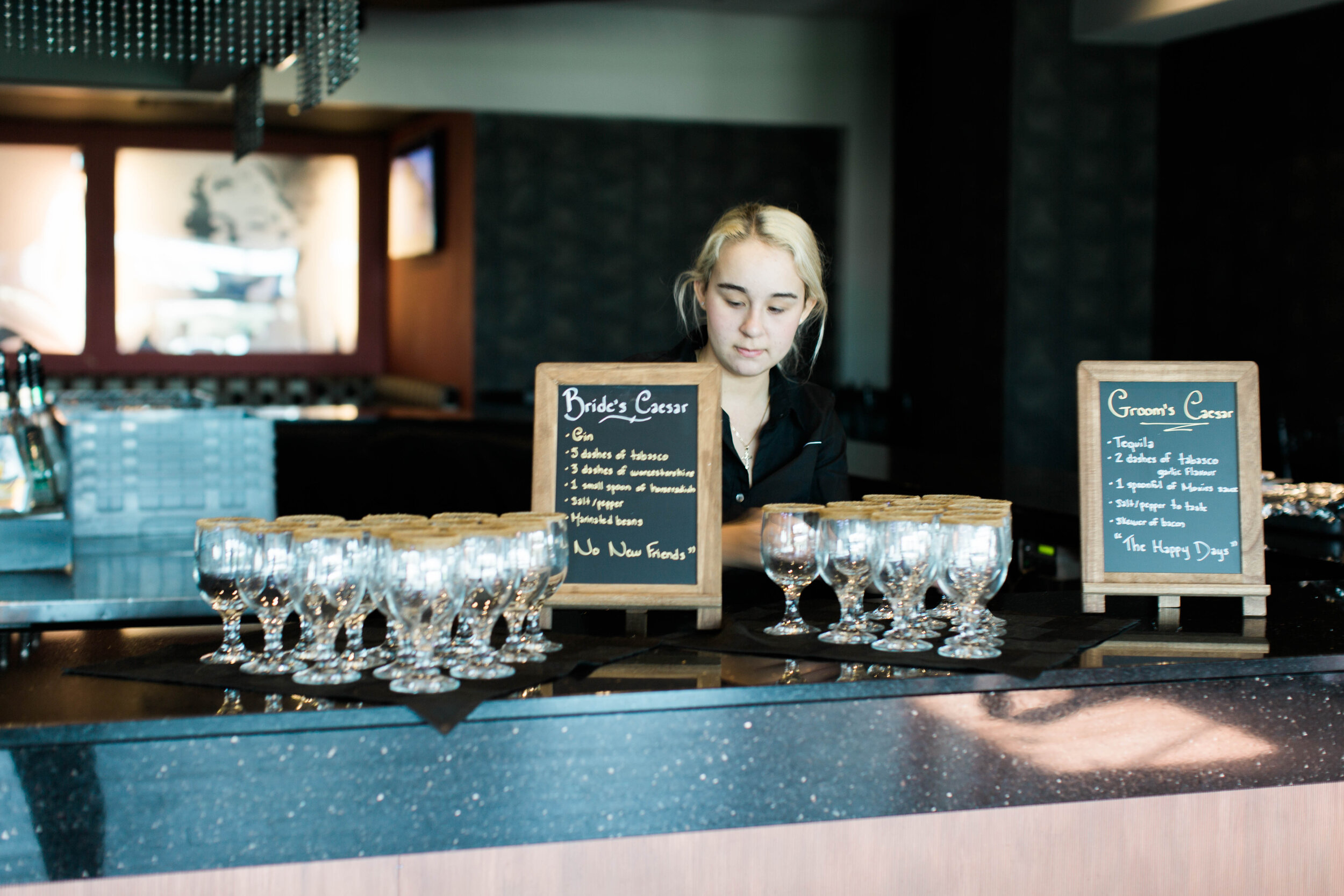 His and Hers Bride and Groom Caesar Bar - Trendy Modern Brunch Wedding - Historia Wedding and Event Planning