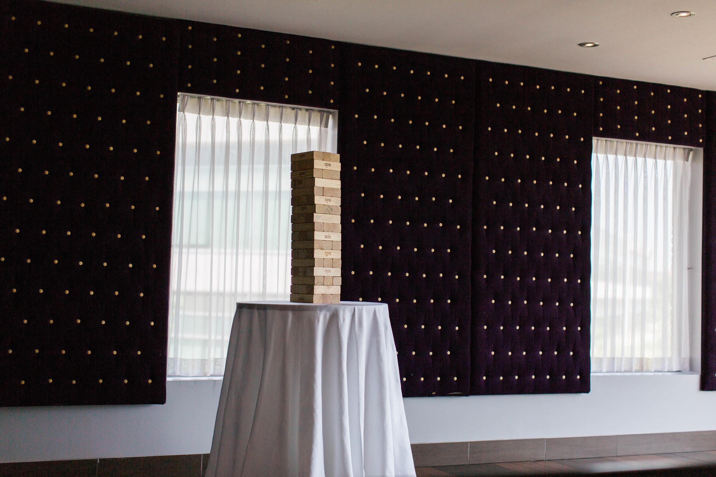 Giant Jenga Game - Trendy Modern Brunch Wedding - Historia Wedding and Event Planning