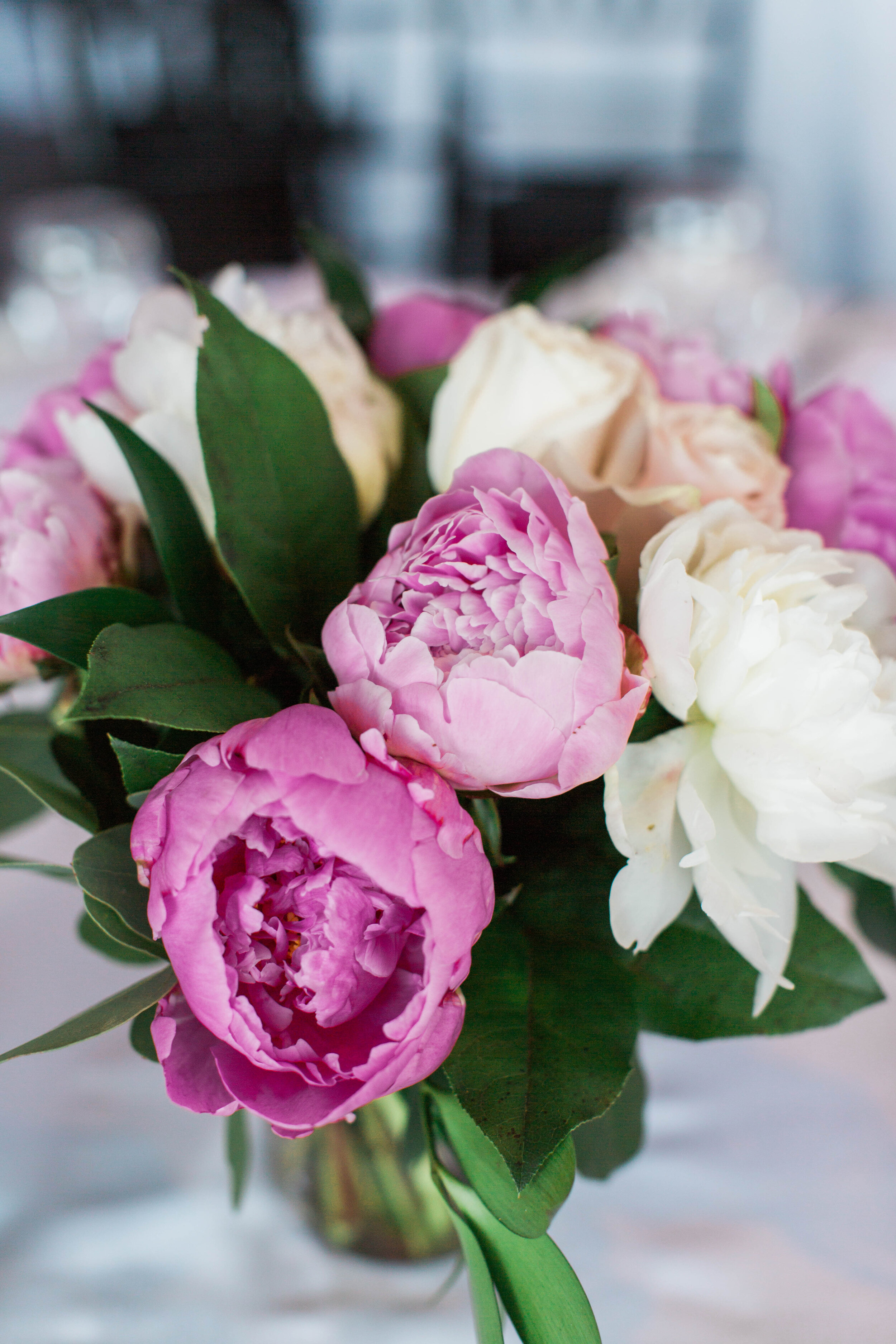 Pink and White Peony Centrepiece - Trendy Modern Brunch Wedding - Historia Wedding and Event Planning