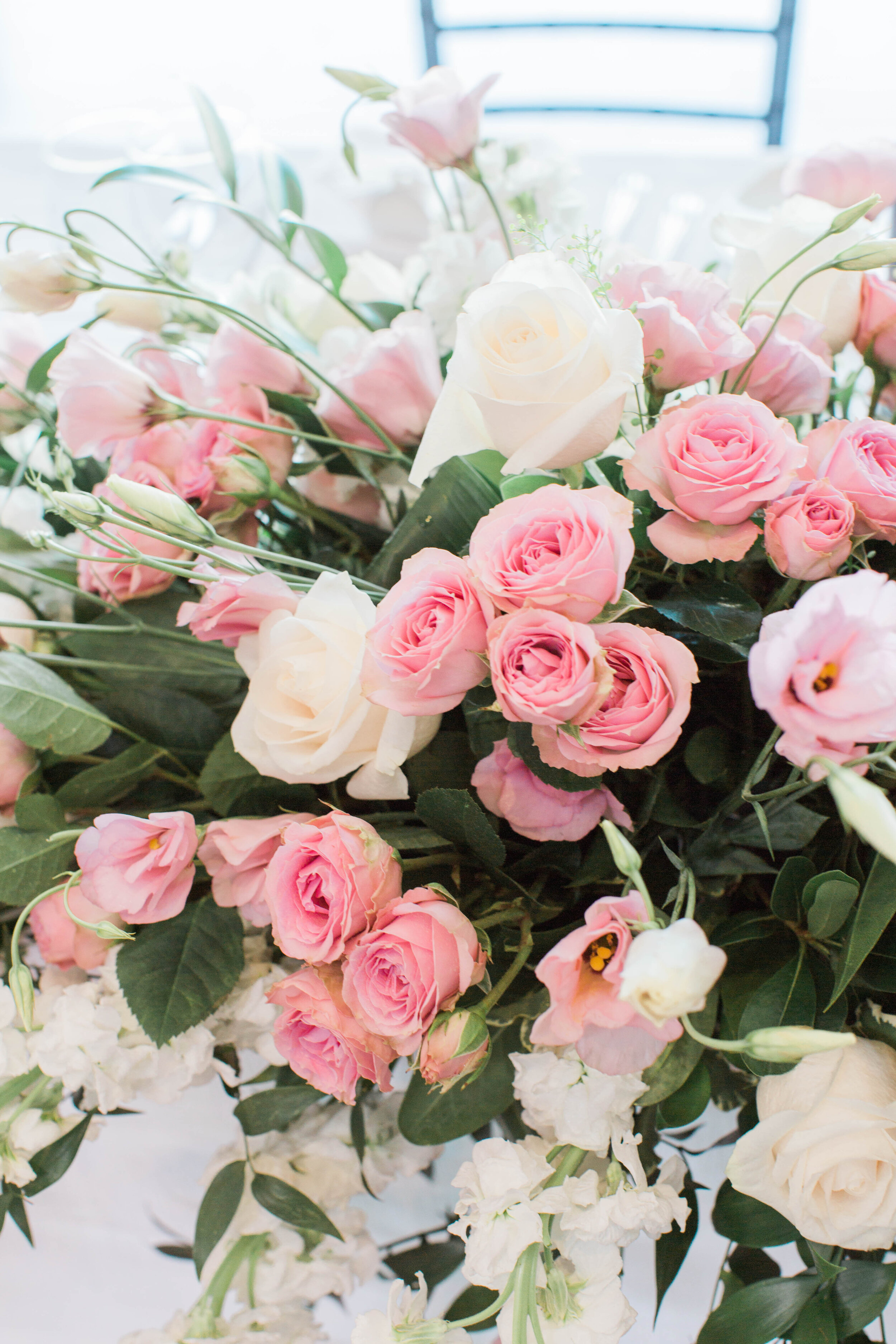 Head table pink and white arrangement closeup - Trendy Modern Brunch Wedding - Historia Wedding and Event Planning