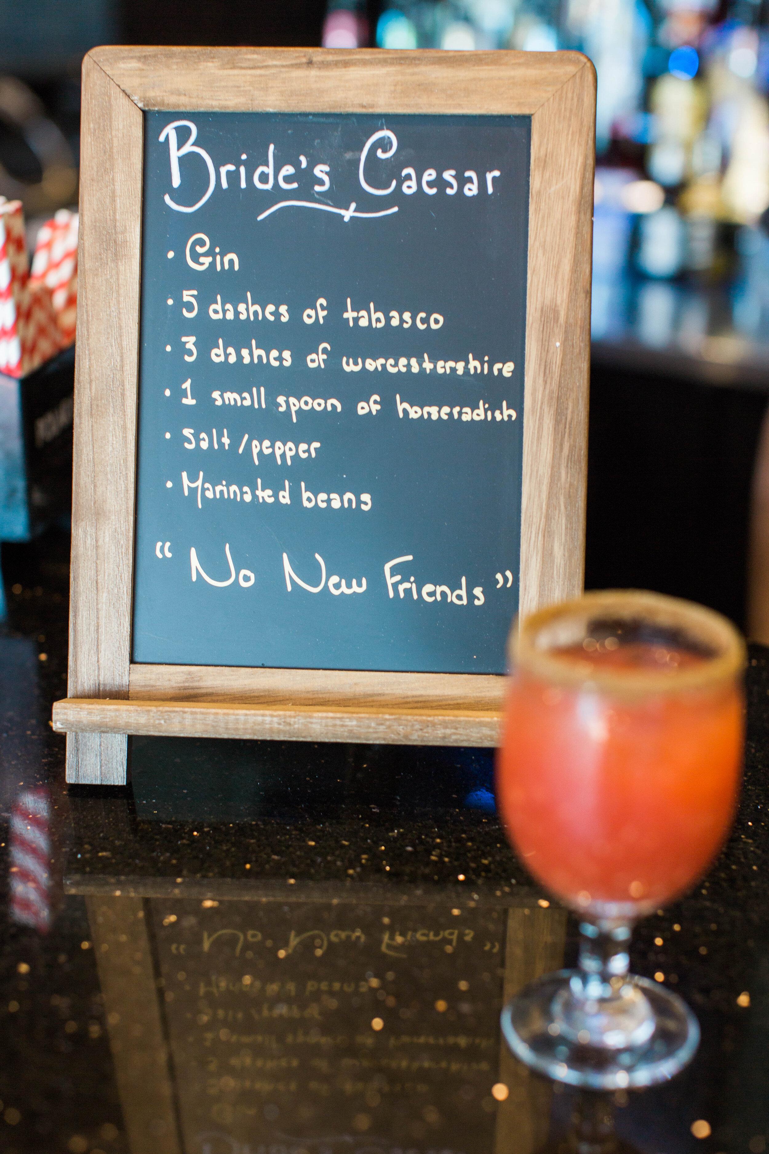 Bride's Caesar specialty drink bar sign - Trendy Modern Brunch Wedding - Historia Wedding and Event Planning