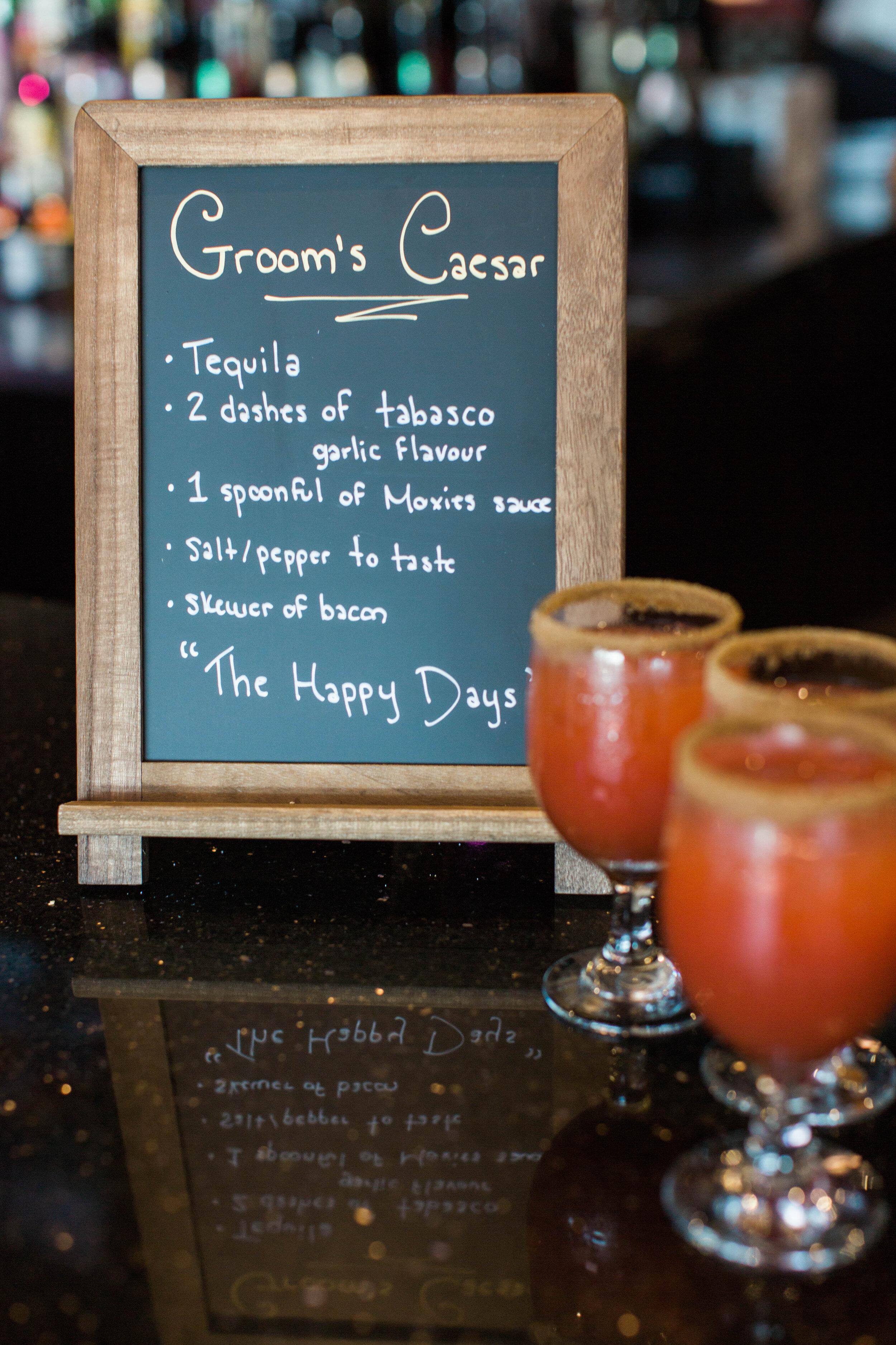 Groom's specialty Caesar drink bar sign - Trendy Modern Brunch Wedding - Historia Wedding and Event Planning