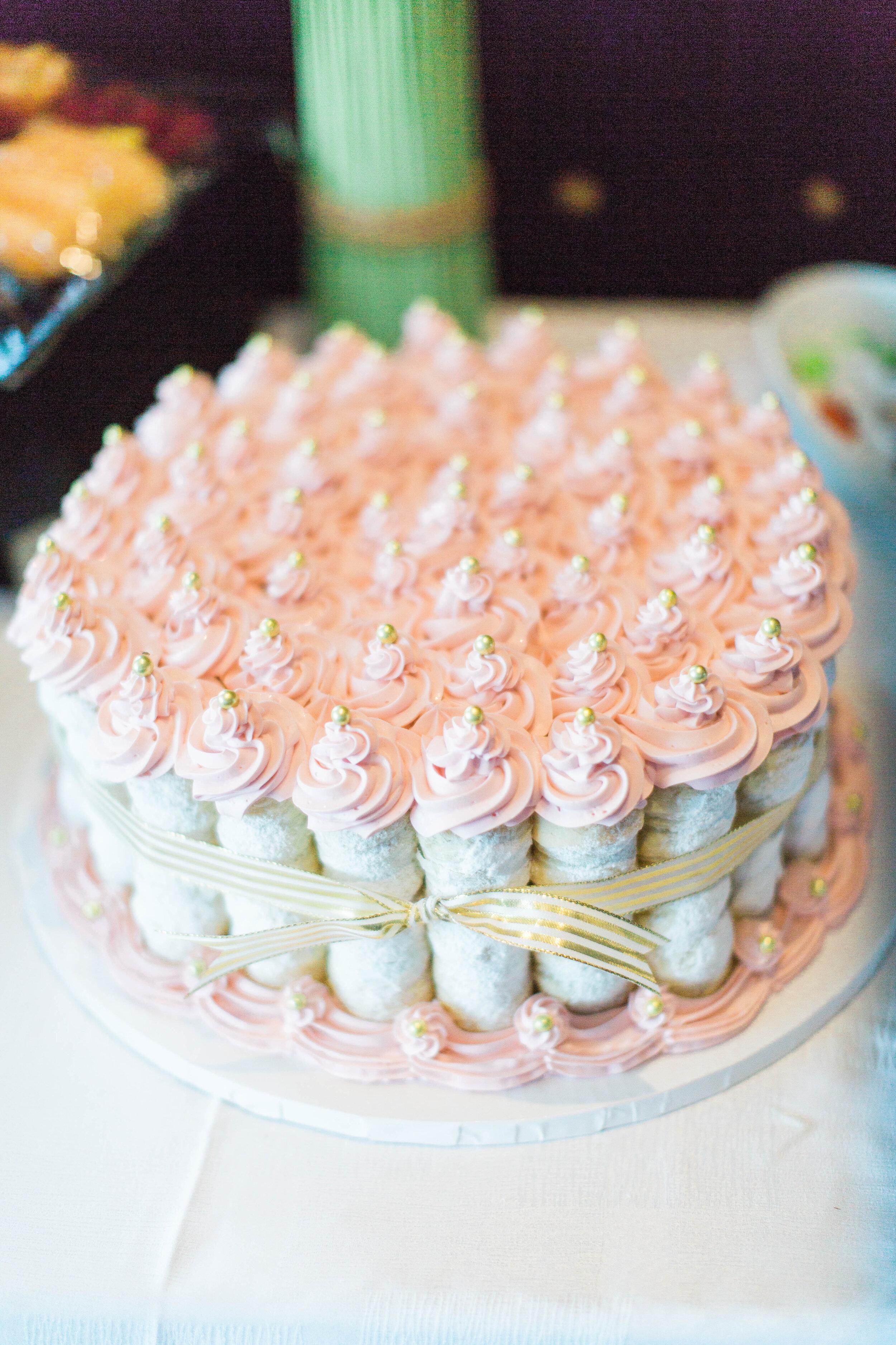 Pink cannoli wedding cake - Trendy Modern Brunch Wedding - Historia Wedding and Event Planning