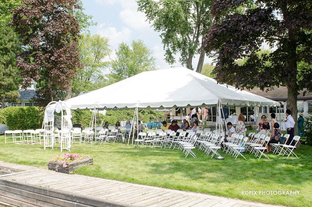 Wedding Tent - DIY Fishing Themed Backyard Wedding - Historia Wedding and Event Planning