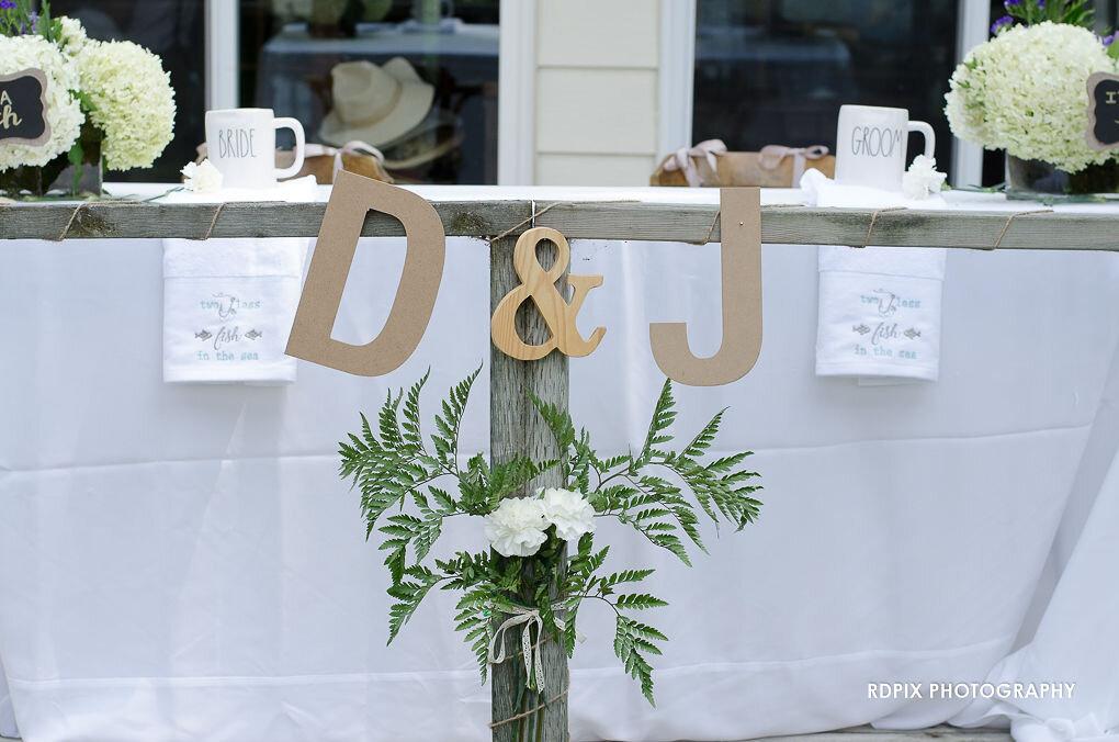 DIY sweetheart table design - DIY Fishing Themed Backyard Wedding - Historia Wedding and Event Planning