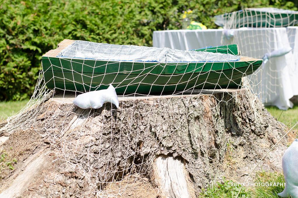 Fishing themed bar display - DIY Fishing Themed Backyard Wedding - Historia Wedding and Event Planning