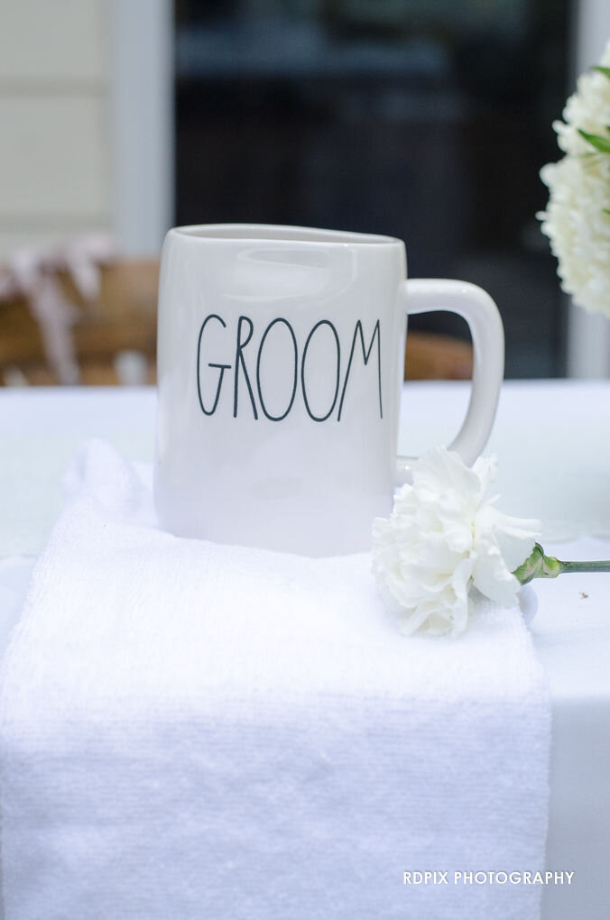 Head table groom side - DIY Fishing Themed Backyard Wedding - Historia Wedding and Event Planning