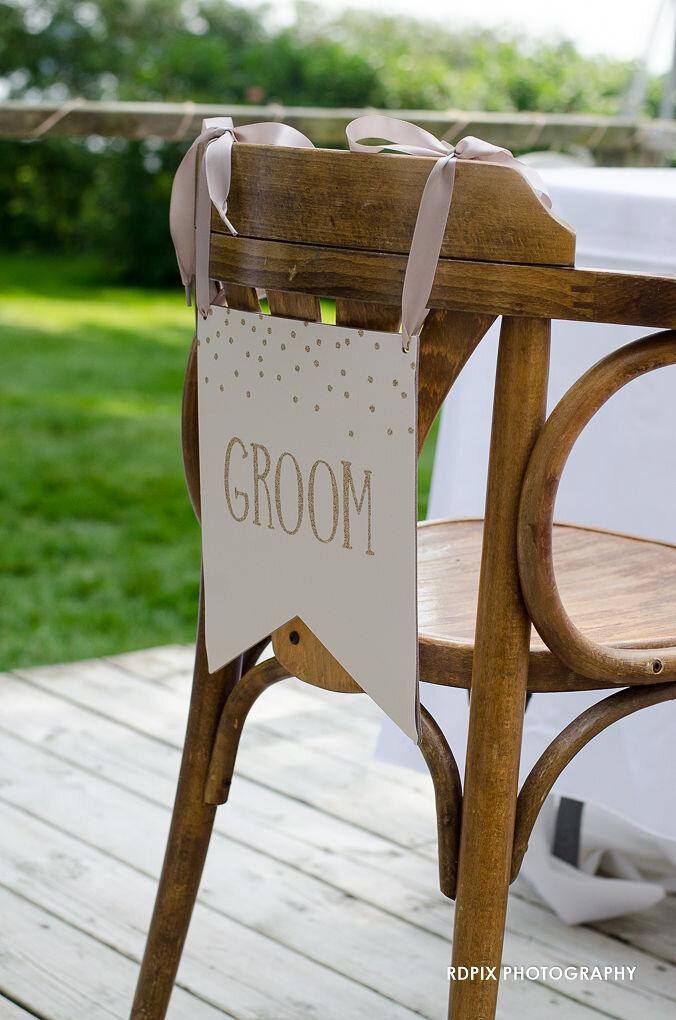 Groom's seat sweetheart table decor - DIY Fishing Themed Backyard Wedding - Historia Wedding and Event Planning