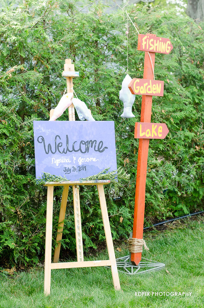 Welcome and directional sign - DIY Fishing Themed Backyard Wedding - Historia Wedding and Event Planning