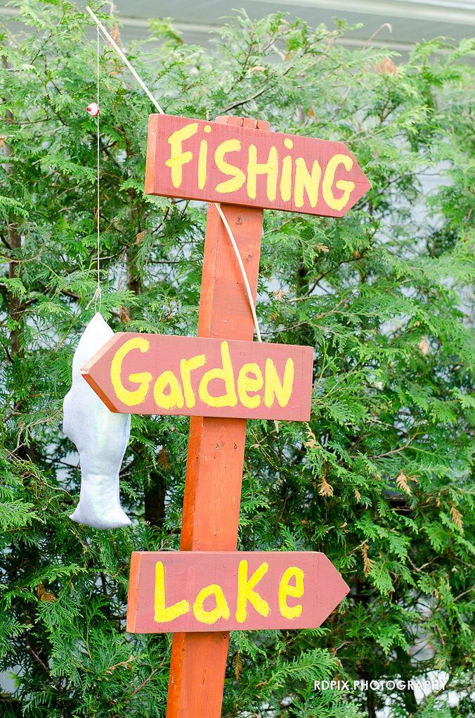 Wedding directional signage - DIY Fishing Themed Backyard Wedding - Historia Wedding and Event Planning