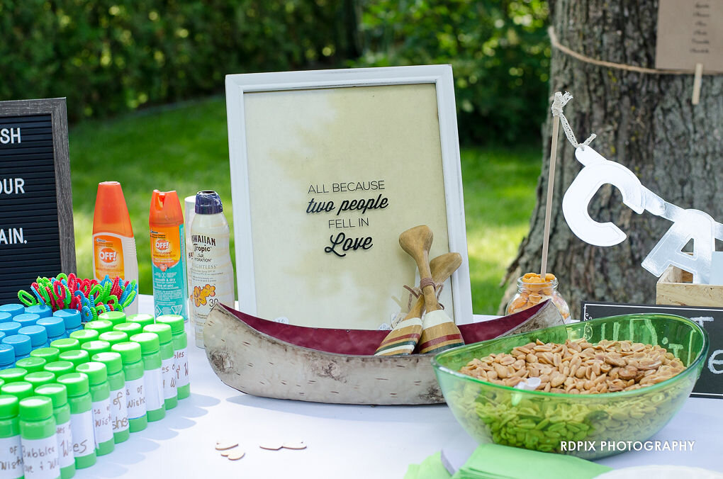 Receiving table guestbook - DIY Fishing Themed Backyard Wedding - Historia Wedding and Event Planning