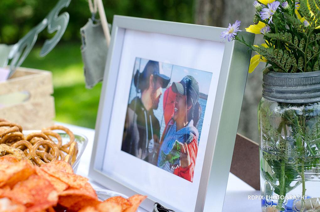 Receiving table photo - DIY Fishing Themed Backyard Wedding - Historia Wedding and Event Planning