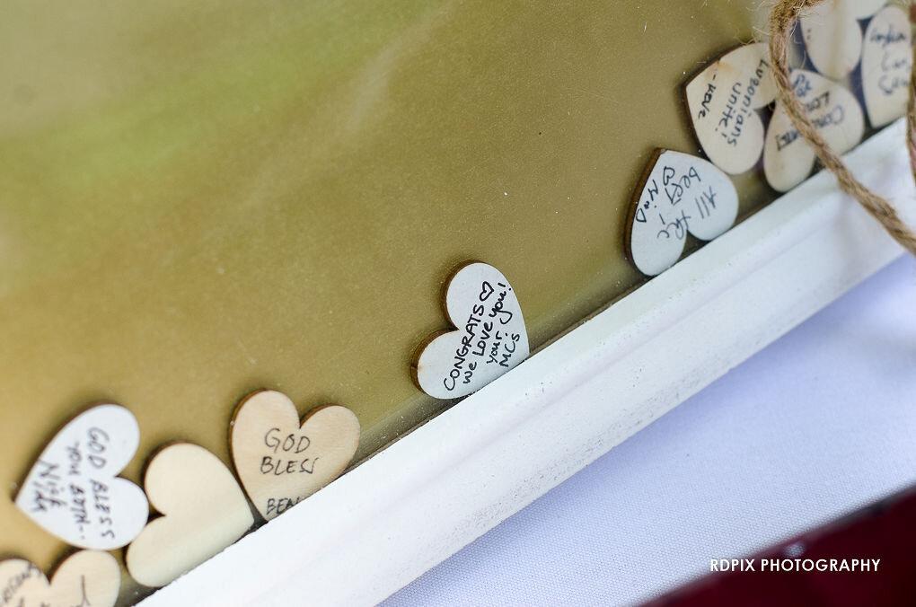 Wood heart guestbook - DIY Fishing Themed Backyard Wedding - Historia Wedding and Event Planning