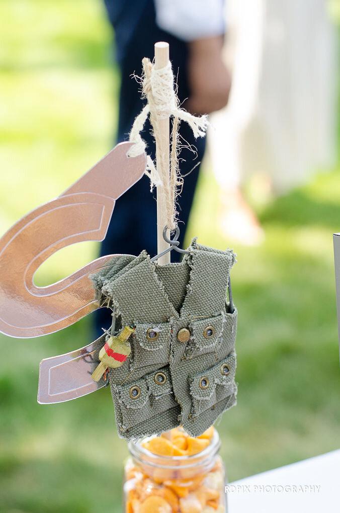 Cute mini fishing vest - DIY Fishing Themed Backyard Wedding - Historia Wedding and Event Planning