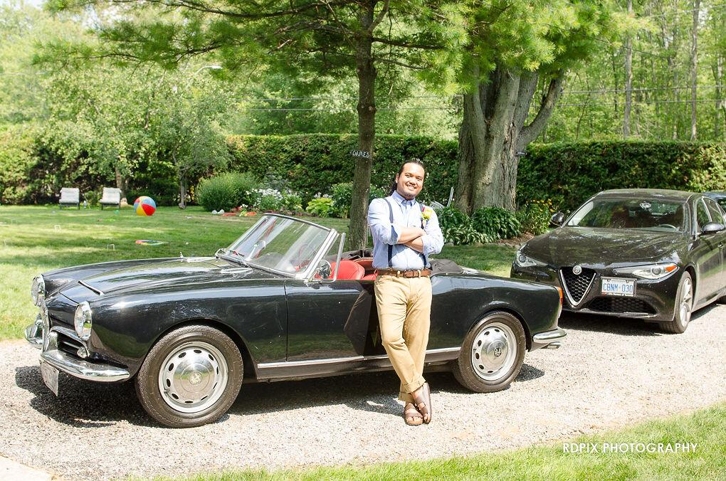 Groom with oldschool car - DIY Fishing Themed Backyard Wedding - Historia Wedding and Event Planning