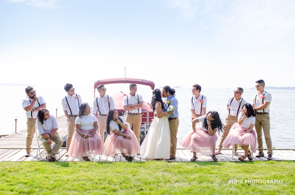 Wedding party lakeside photo - DIY Fishing Themed Backyard Wedding - Historia Wedding and Event Planning