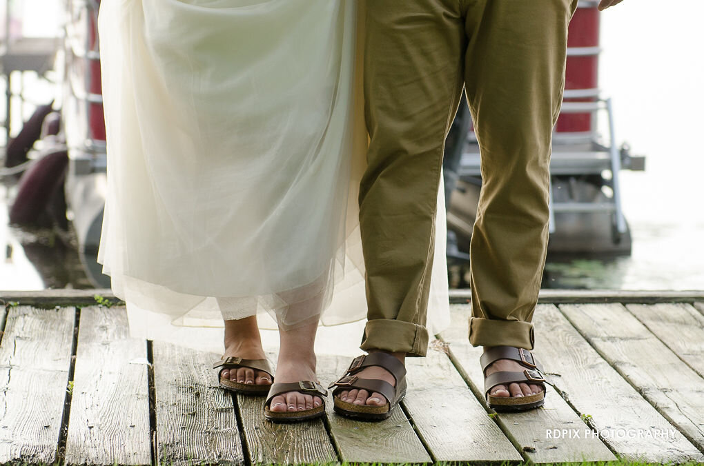 Matching bride and groom sandals - DIY Fishing Themed Backyard Wedding - Historia Wedding and Event Planning