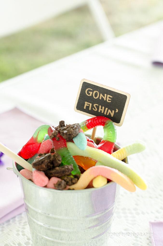 Gone Fishin' reception table decor - DIY Fishing Themed Backyard Wedding - Historia Wedding and Event Planning