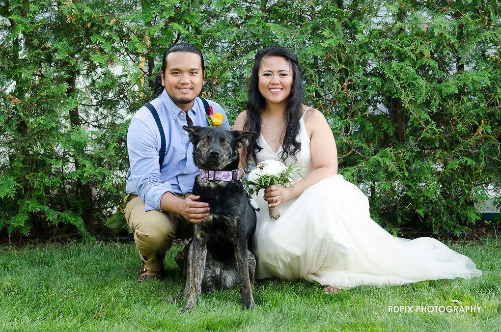 Bride and groom with dog - DIY Fishing Themed Backyard Wedding - Historia Wedding and Event Planning