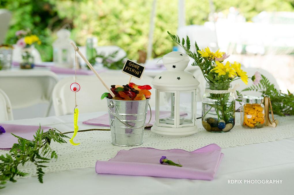 Reception table decor - DIY Fishing Themed Backyard Wedding - Historia Wedding and Event Planning