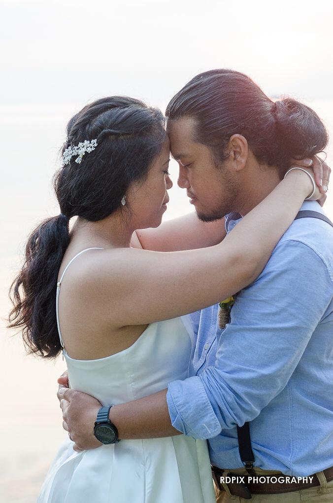Bride and groom sunset photo - DIY Fishing Themed Backyard Wedding - Historia Wedding and Event Planning
