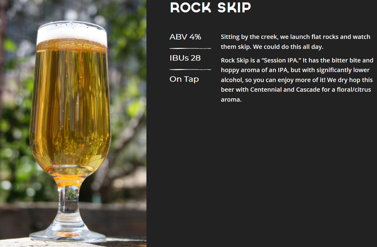 Now on tap:  Rock Skip by Discretion Brewing, a session IPA that won't send you skipping all over the rocks. Ride, Drink, Repeat.