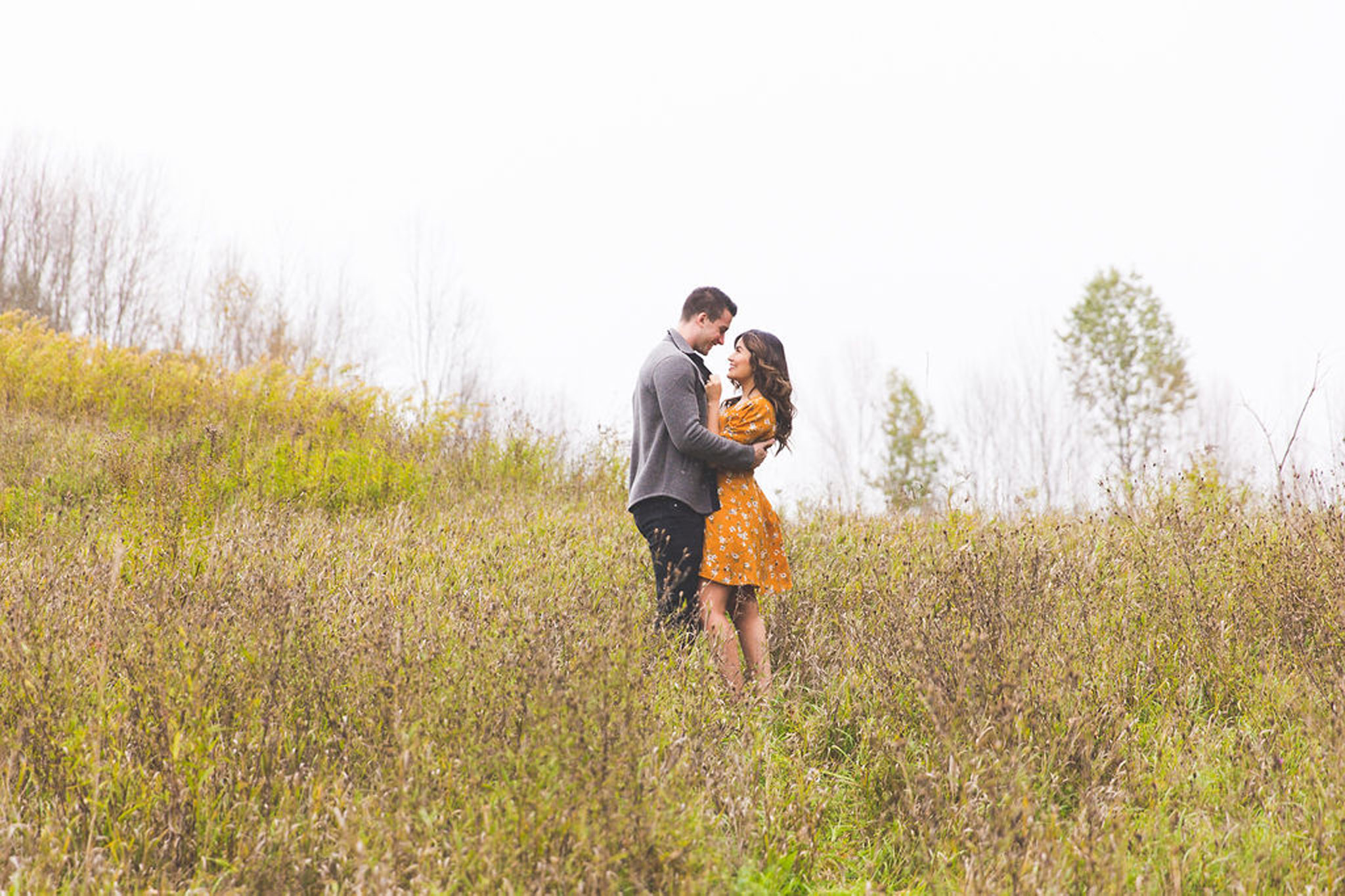 Autumn field engagment session in Owen Sound