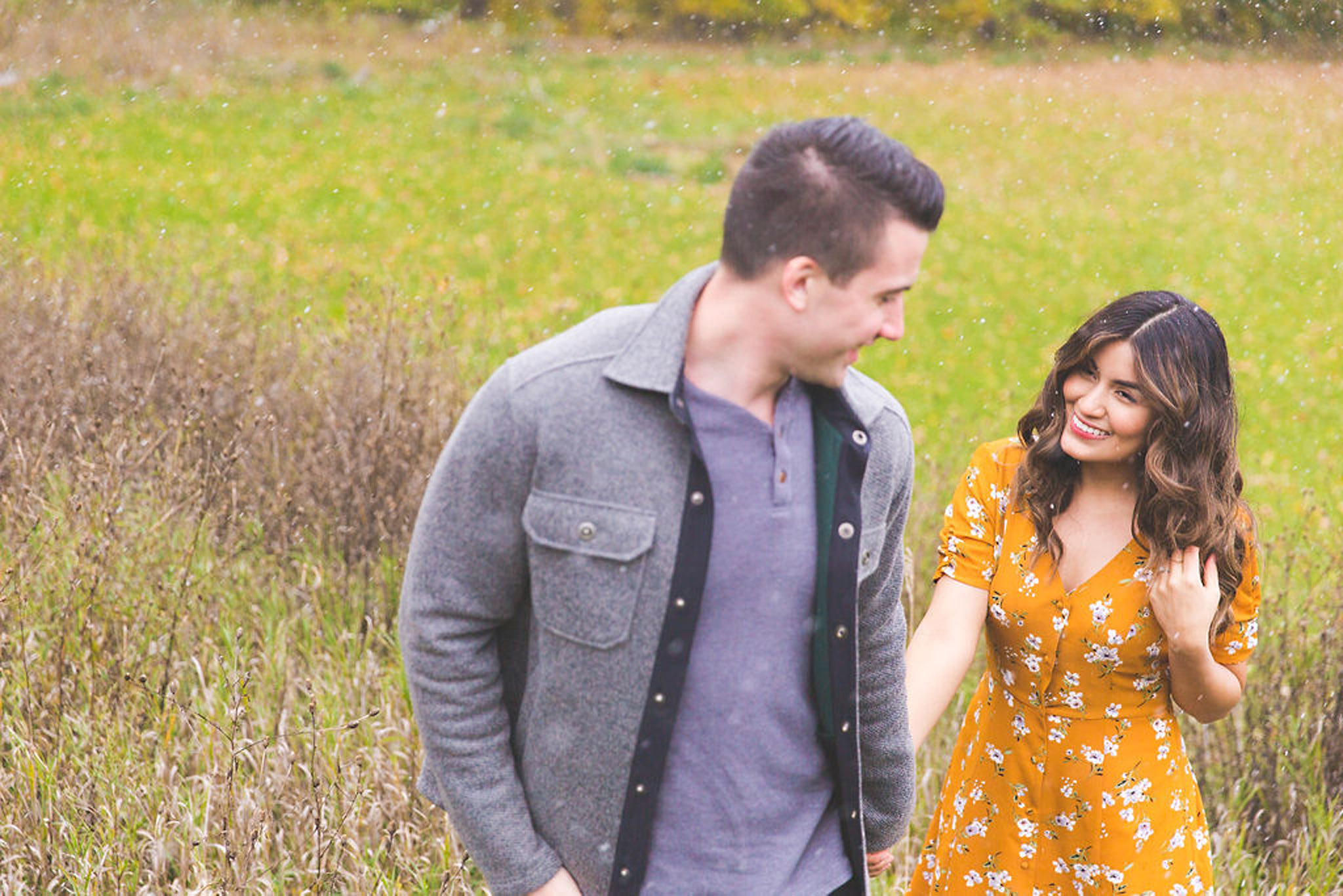 Snowy spring engagement session in Owen Sound
