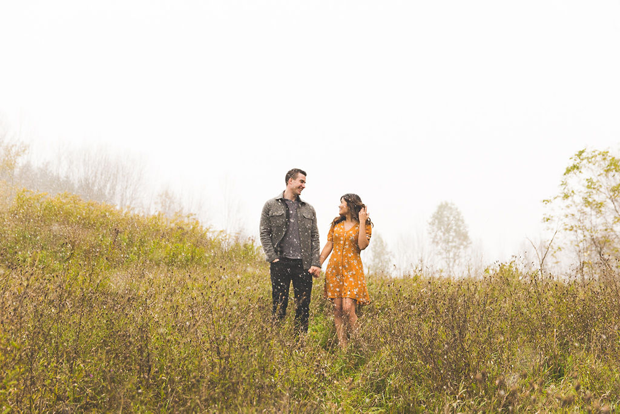Surprise snow at an autumn engagement session in Owen Sound