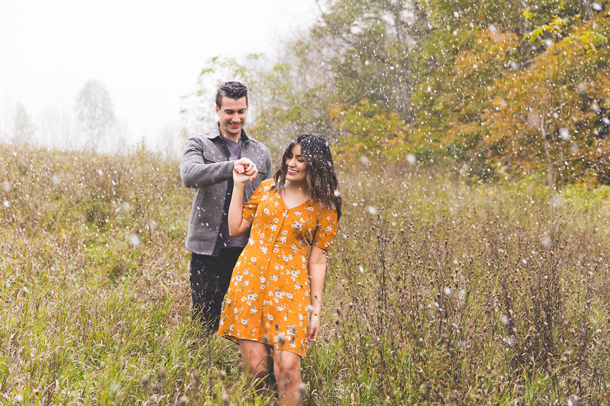 snowy autumn engagement session in Owen Sound