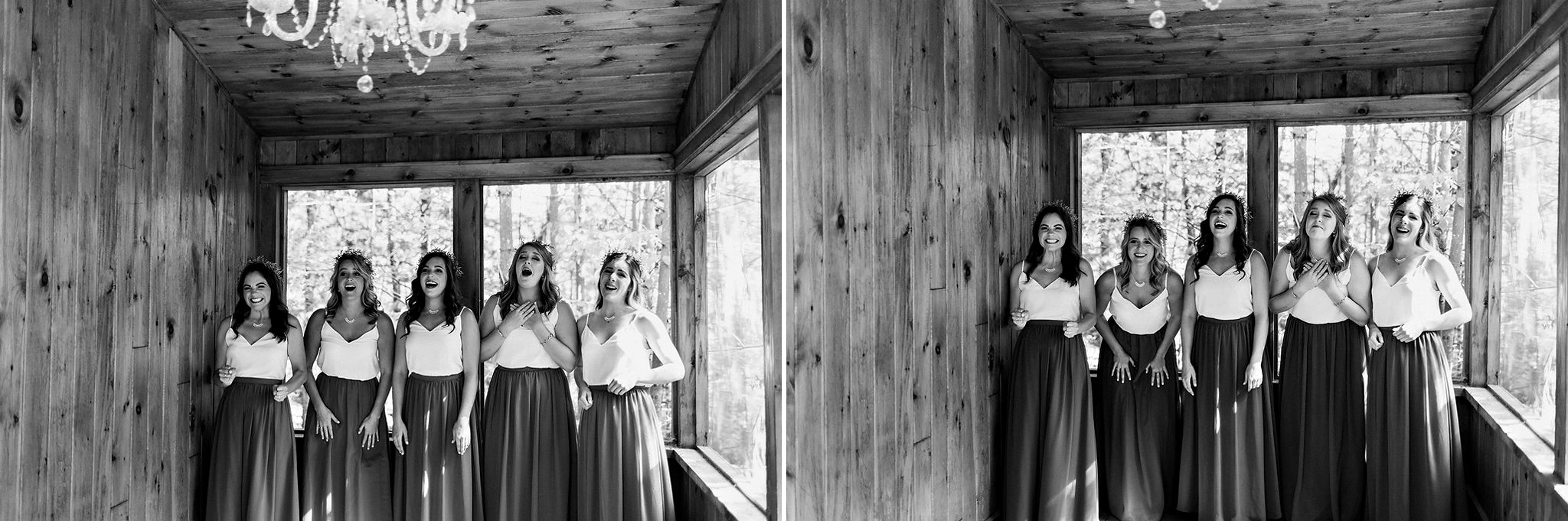 Bridesmaids first look with bride at camp wedding