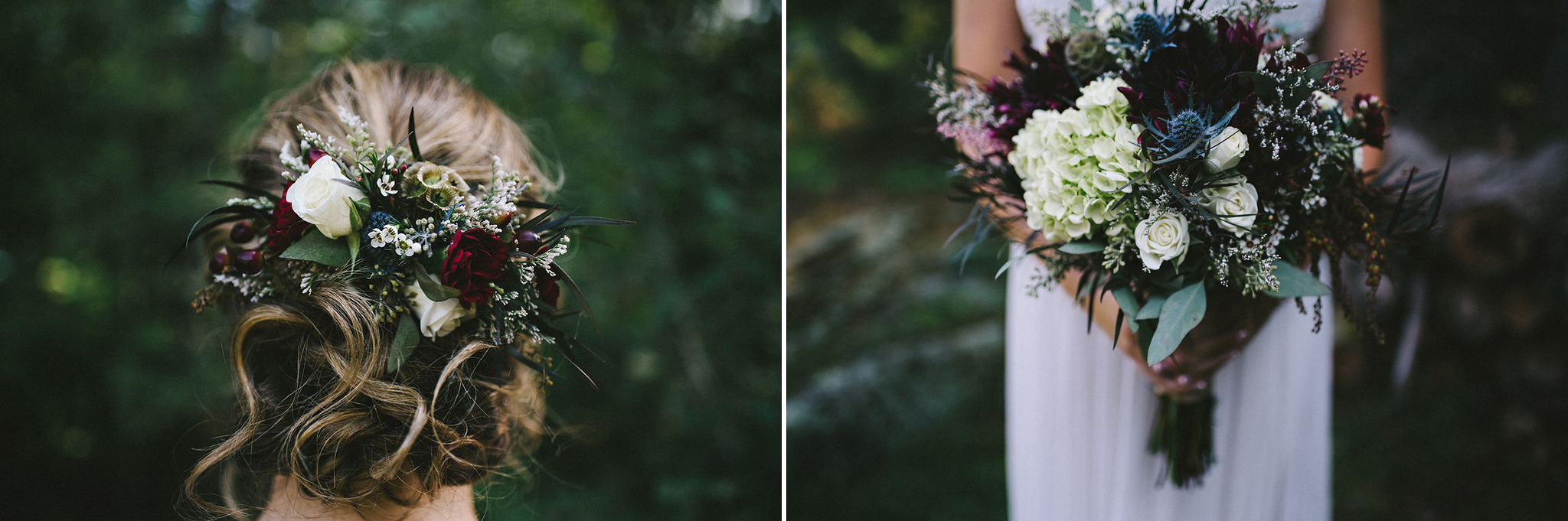 Burgundy wedding bouquet and hair comb
