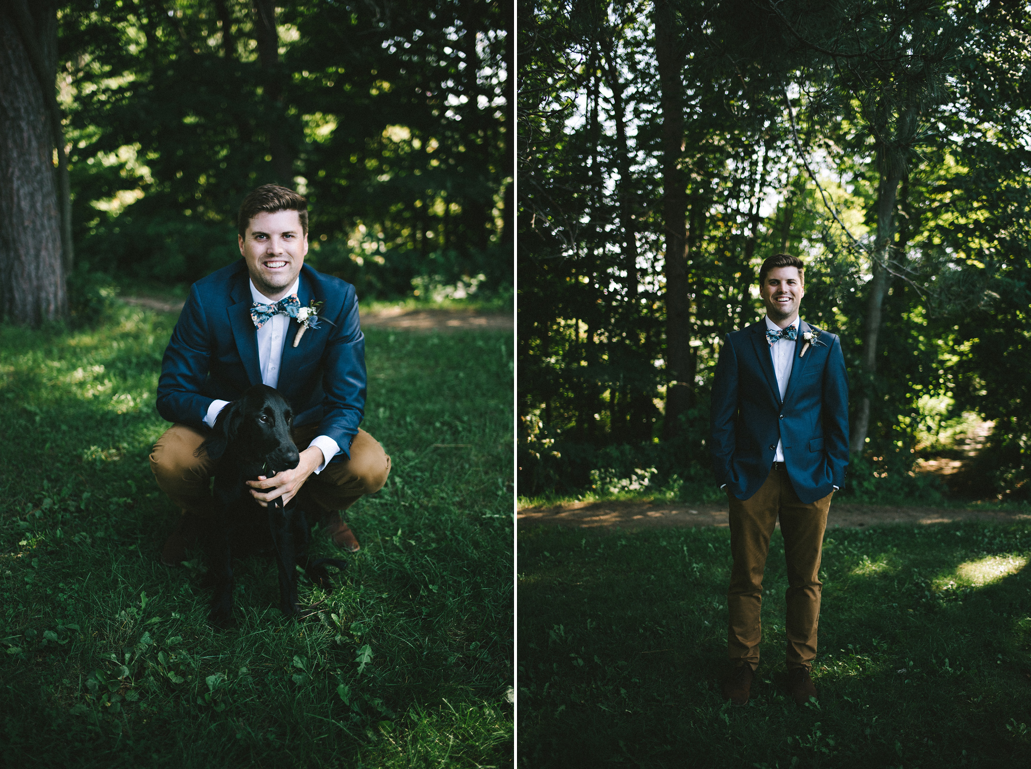 Groom style with floral bowtie and puppy at Parry Sound camp wed