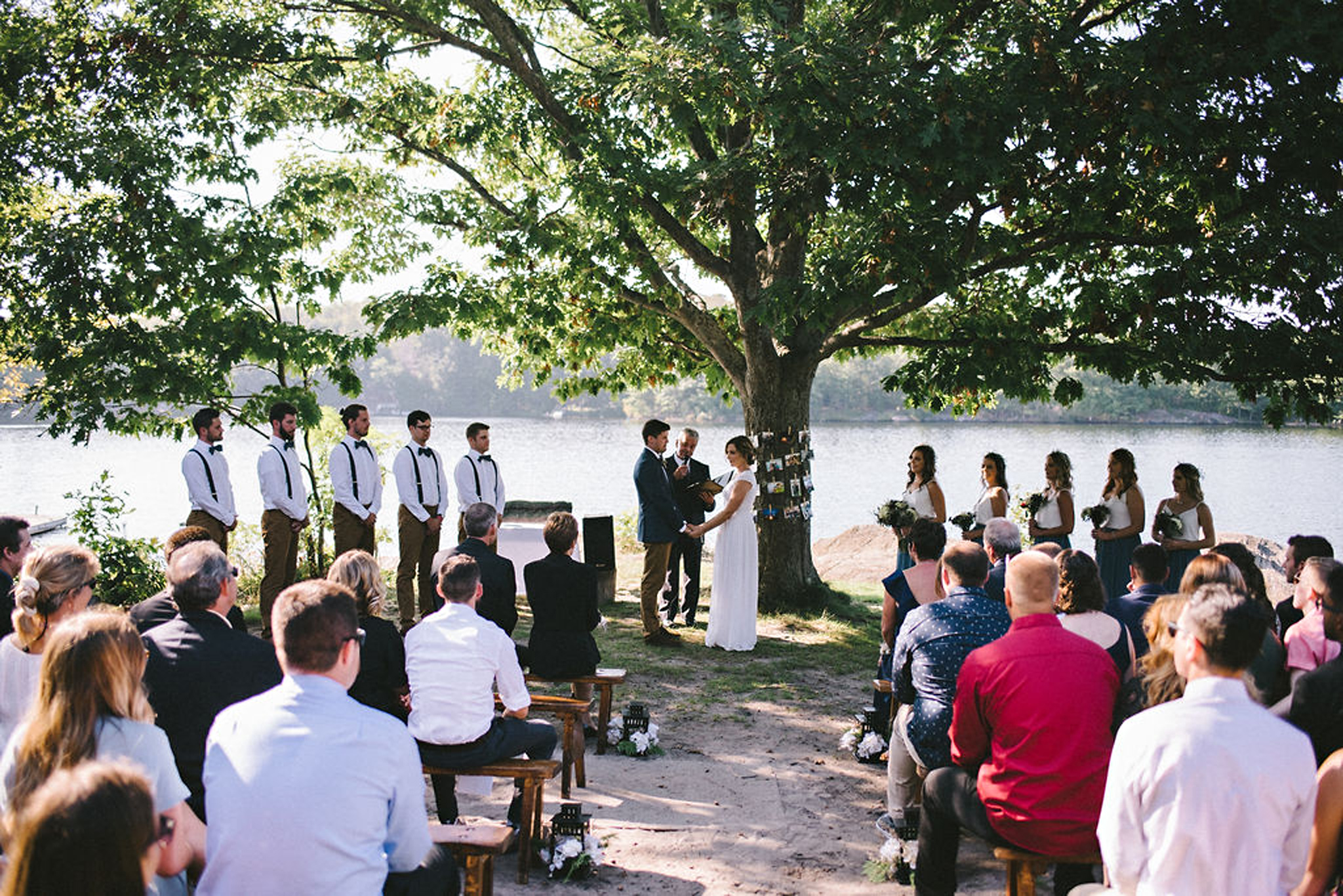 Lakeside ceremony at Parry Sound camp wedding