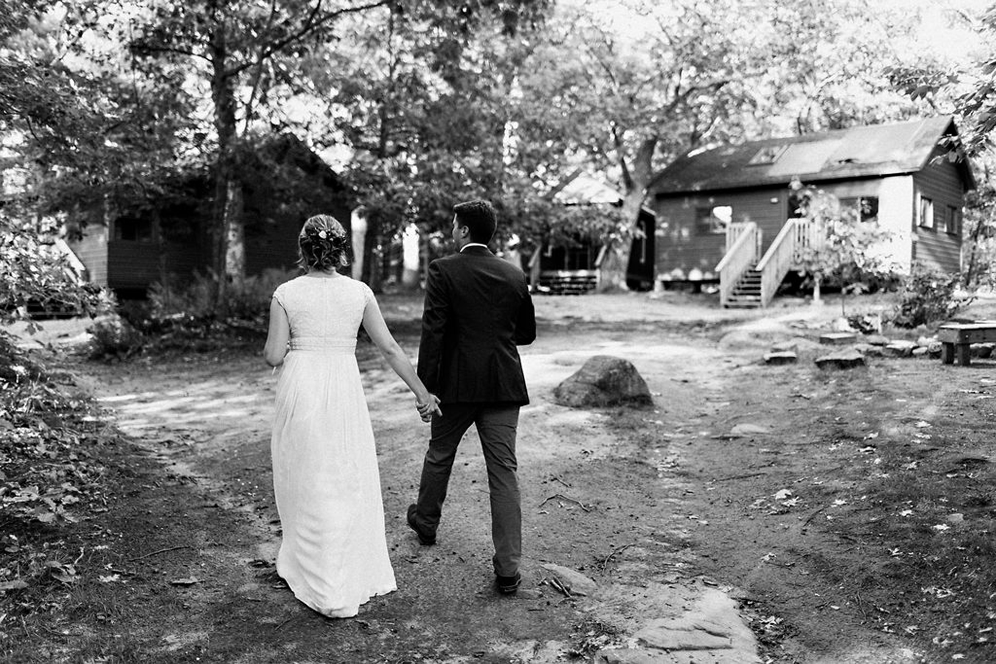 Couple at Parry Sound camp wedding