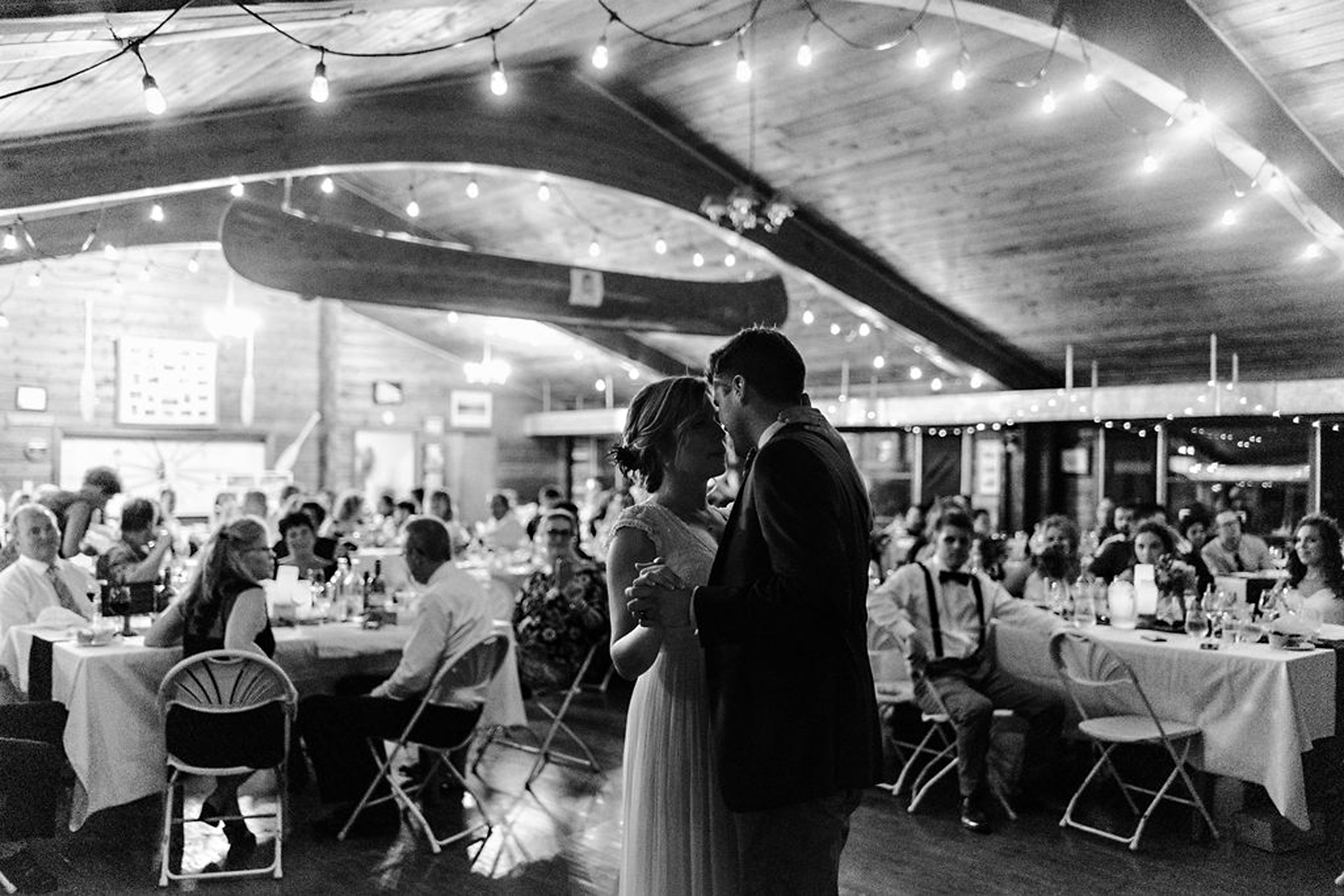Romantic first dance at Parry Sound camp wedding