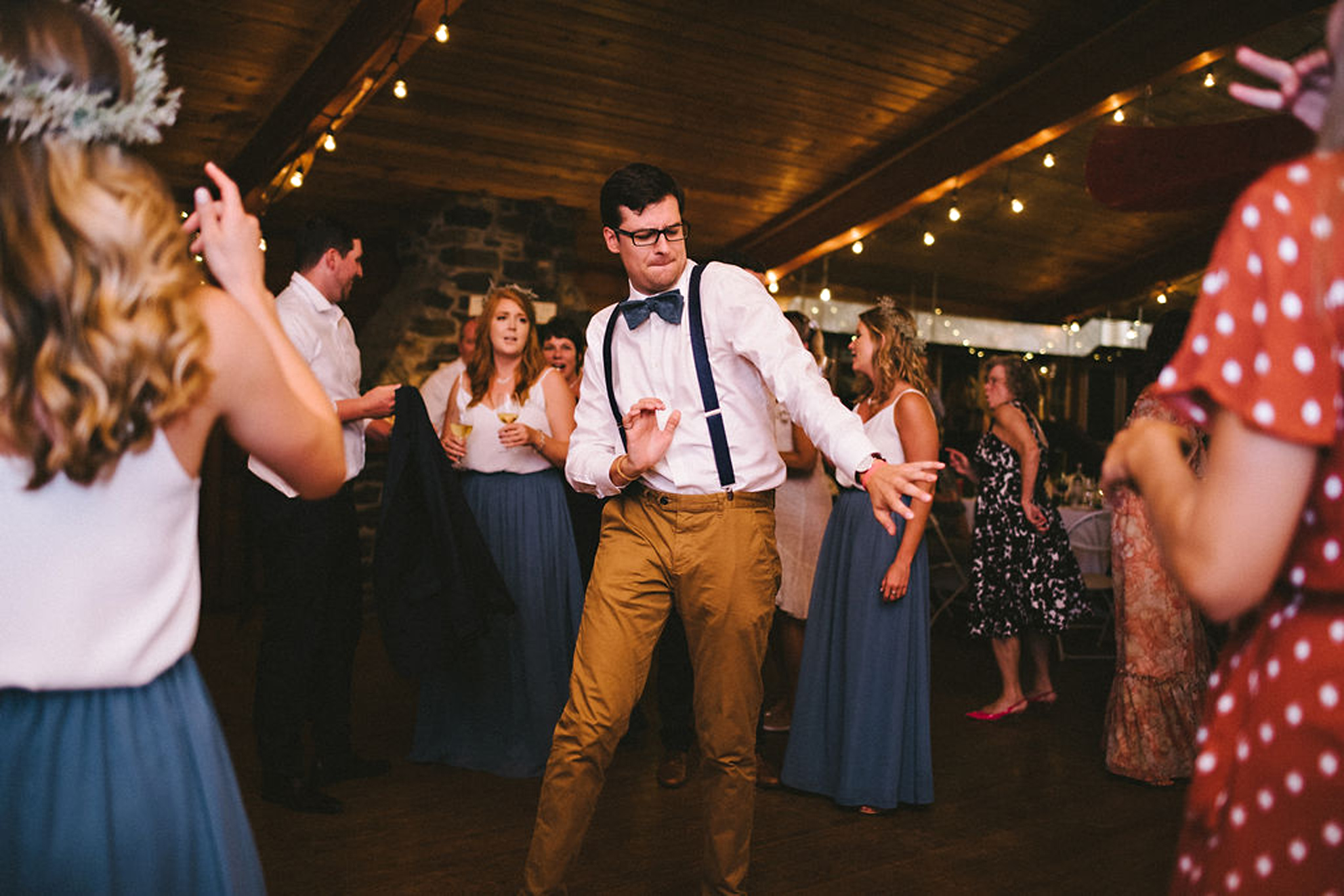 sweet dance moves from groomsman at Parry Sound camp wedding