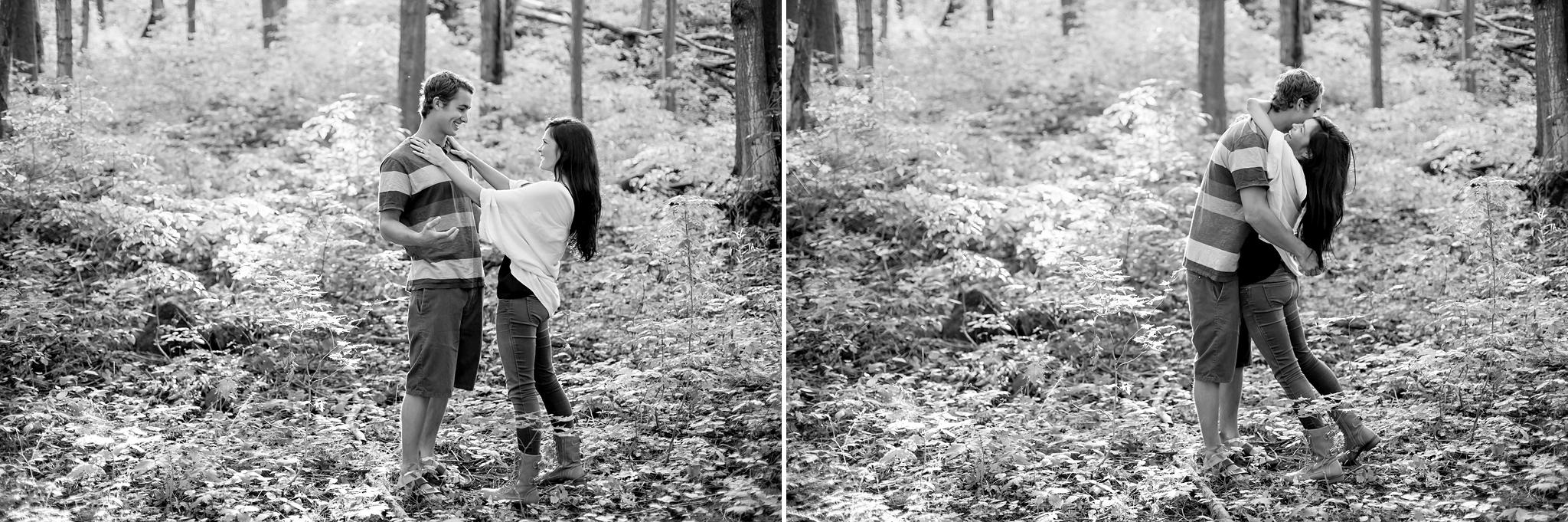 cozy couple in the forest during engagement session at castle gl