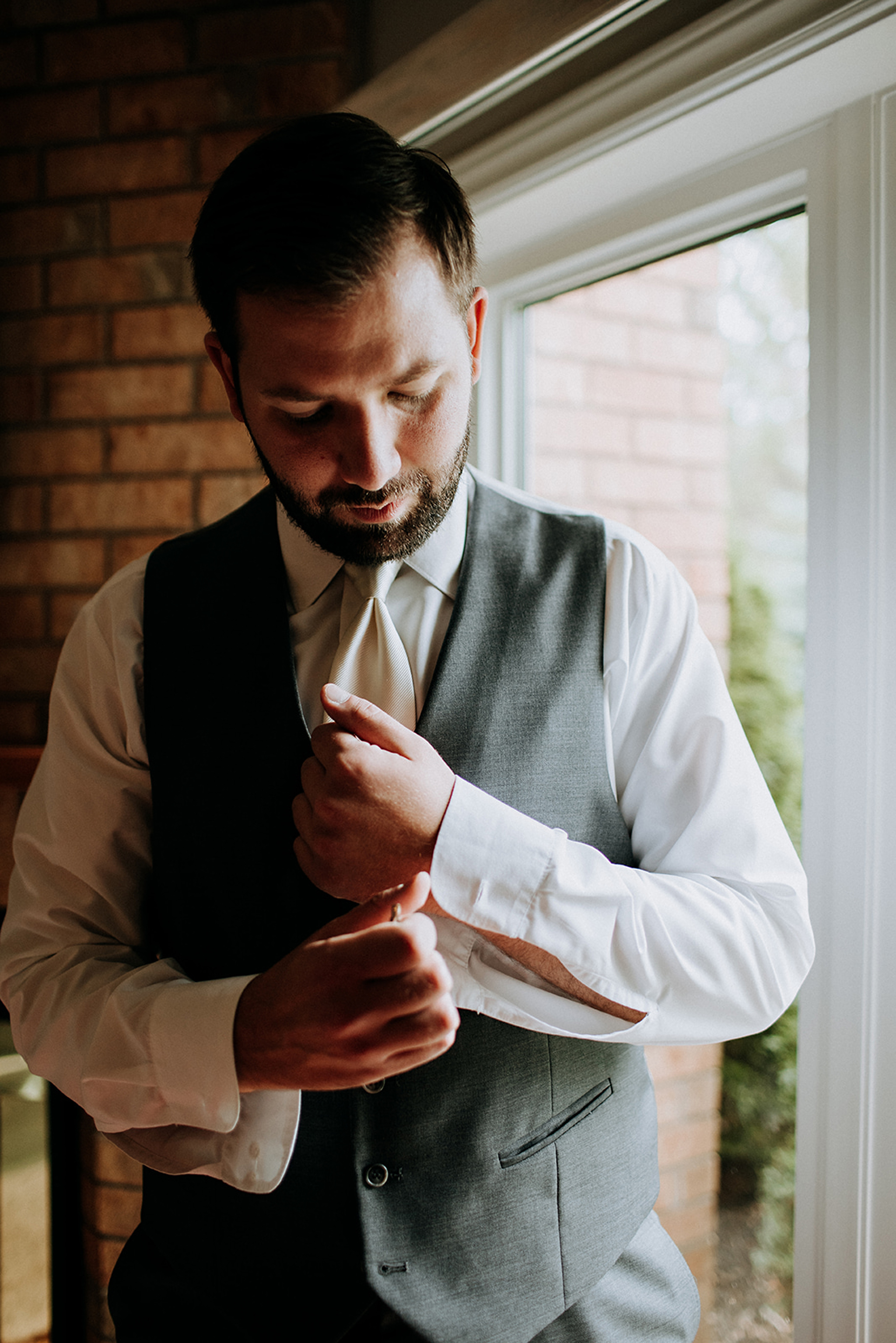 personalized details for groom style at barn wedding in meaford