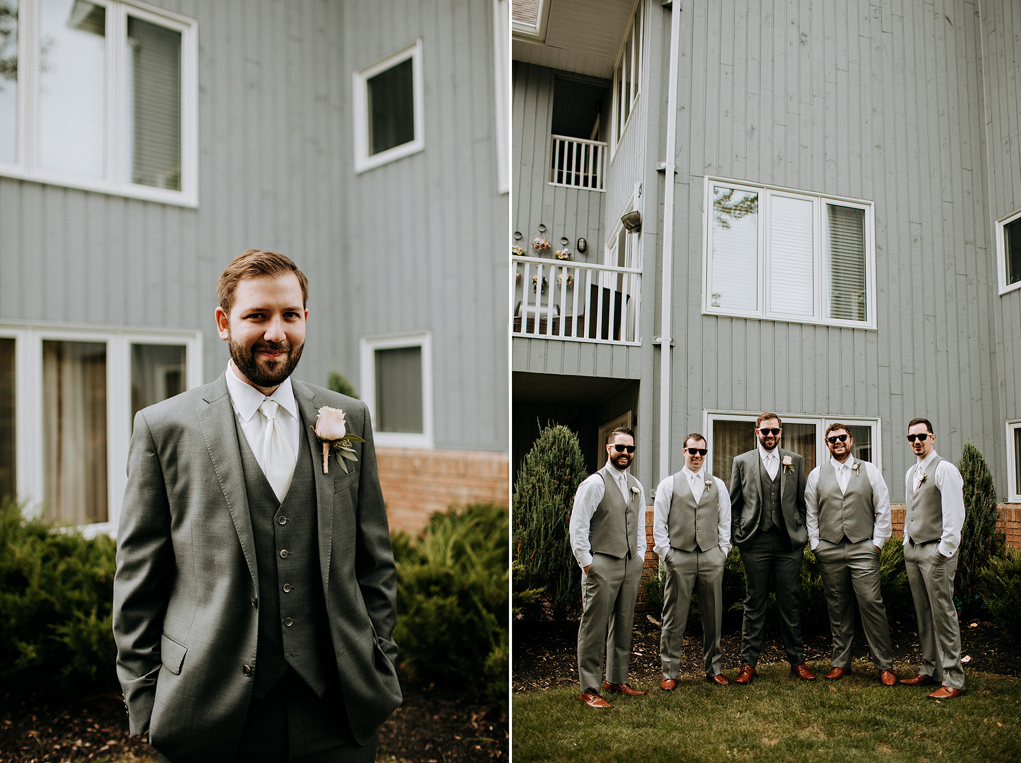 stylish groom and groomsmen in grey at meaford barn wedding